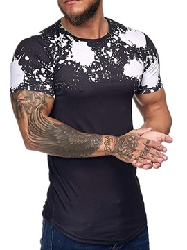 Ericdress Color Block Round Neck Print Slim Short Sleeve Men's T-shirt