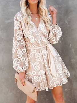 Ericdress Long Sleeve V-Neck Embroidery Mid Waist Sweet Women's Dress