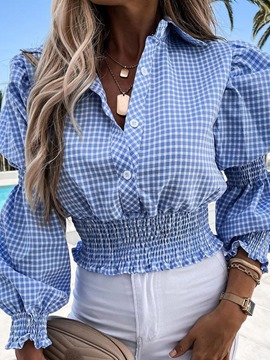 Ericdress Plaid Lapel Print Long Sleeve Standard Women's Blouse