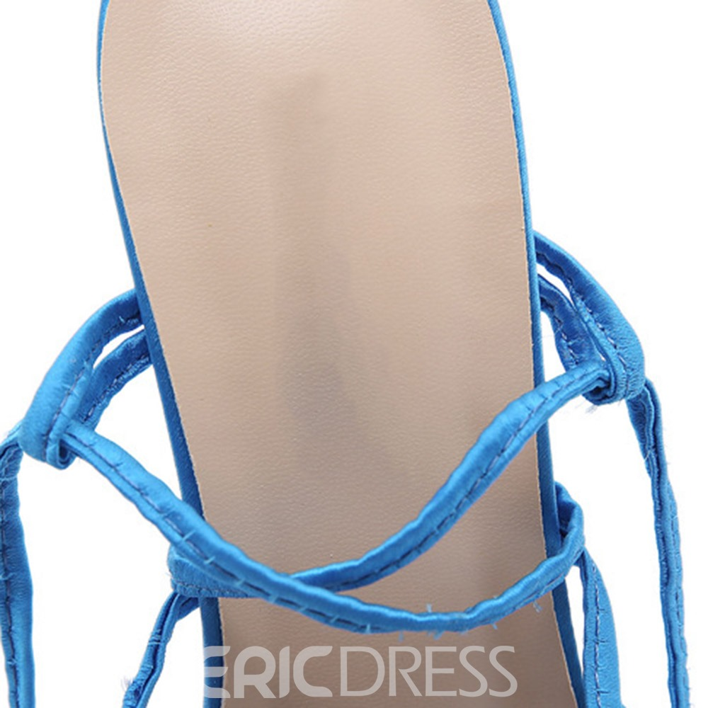 Ericdress Lace-Up Square Toe Stiletto Heel Cross Strap Sandals