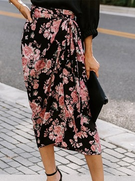Ericdress Floral Print Asymmetrical Mid Waist Fashion Skirt