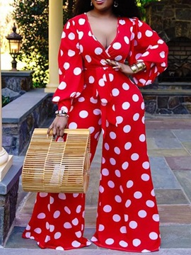 Ericdress Patchwork Polka Dots Full Length Loose Wide Legs Women's Jumpsuit
