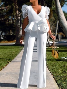 Ericdress Plain Fashion Full Length Women's Slim Straight Jumpsuit