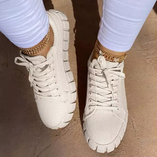 Ericdress Cross Strap Round Toe Lace-Up Casual Sneakers