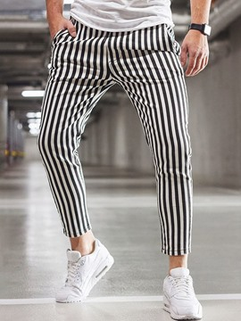 Ericdress Stripe Print Straight Lace-Up Men's Casual Pants