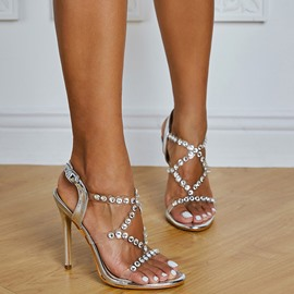 Ericdress Stiletto Heel Buckle Round Toe Plain Sandals