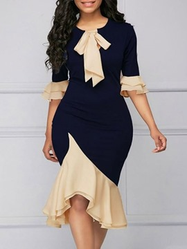 Ericdress Half Sleeve Round Neck Mid-Calf Color Block Pullover Dress