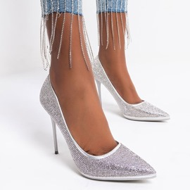 Ericdress Slip-On Pointed Toe Rhinestone Ultra-High Heel(≥8cm) Women's Thin Shoes