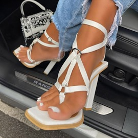 Ericdress Square Toe Chunky Heel Buckle Vintage Sandals