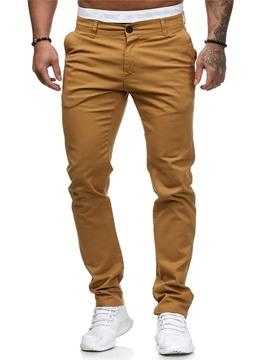Ericdress Plain Zipper Mid Waist Men's Casual Pencil Pants