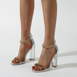Ericdress Round Toe Metal Chain Chunky Heel Low-Cut Upper Sandals
