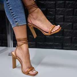 Ericdress Chunky Heel Square Toe Lace-Up Plain Sandals