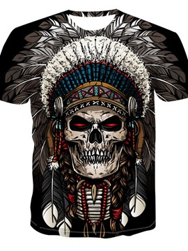 Ericdress Casual Skull Print Short Sleeve Men's Loose T-shirt