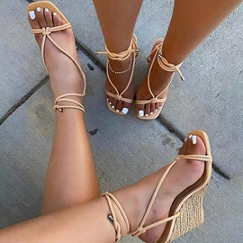 Ericdress Wedge Heel Lace-Up Square Toe Plain Sandals
