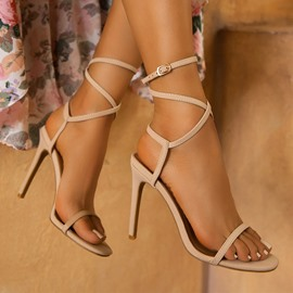 Ericdress Round Toe Strappy Stiletto Heel Plain Sandals