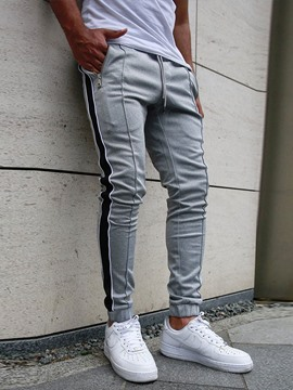 Ericdress Lace-Up Stripe Men's Casual Pencil Pants