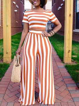 Ericdress Stripe T-Shirt Print Wide Legs Round Neck Women's Two Piece Sets