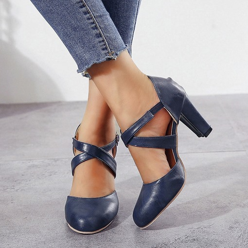 Ericdress Round Toe Buckle Chunky Heel Low-Cut Upper Thin Shoes