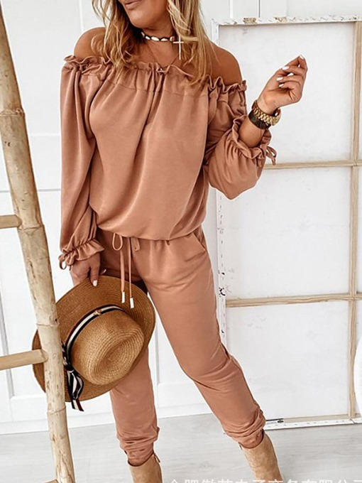 Ericdress Plain Lace-Up Full Length Mid Waist Loose Women's Jumpsuit