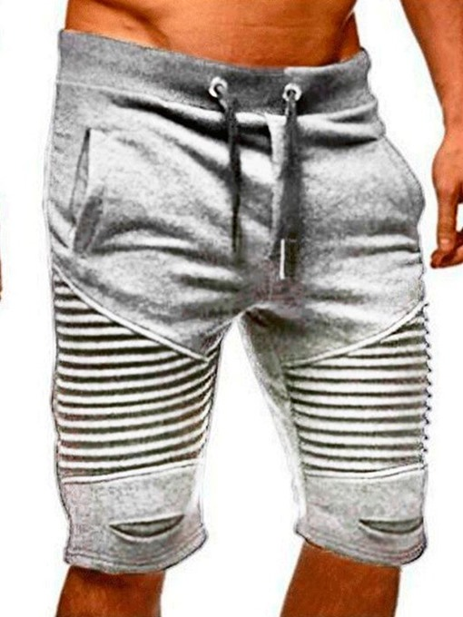 Ericdress Pocket Straight Stripe Lace-Up Mid Waist Men's Casual Pants