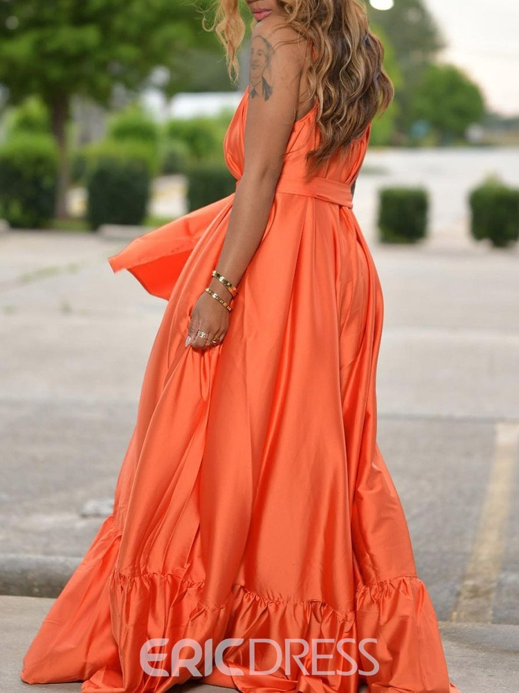 Ericdress Sleeveless Pleated Floor-Length Travel Look Expansion Dress