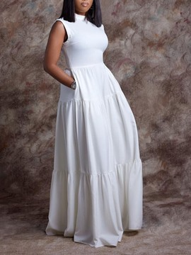 Ericdress Floor-Length Sleeveless Pleated Simple Plain Dress