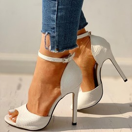 ericdress peep toe buckle stone low-cut upper fines chaussures