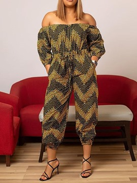 Ericdress Print Western Mid-Calf Pencil Pants Women's Slim Jumpsuit