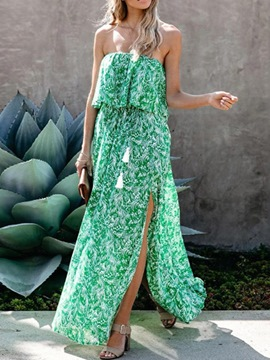 Ericdress Split Sleeveless Floor-Length Plant Expansion Women's Dress