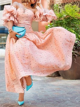 Ericdress Three-Quarter Sleeve Patchwork Floor-Length Expansion Dress