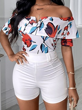 Ericdress Shorts Print Fashion Straight Off Shoulder Women's Two Piece Sets