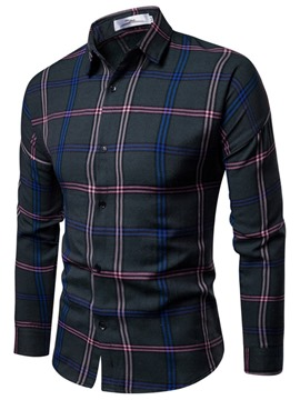 Ericdress Lapel Plaid Print Single-Breasted Men's Shirt