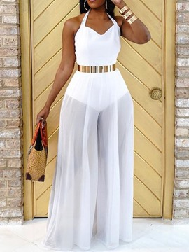 Ericdress Full Length Fashion See-Through Wide Legs Women's Slim Jumpsuit