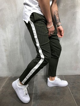 Ericdress Pencil Pants Stripe Patchwork Men's Casual Pants