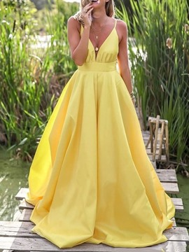 Ericdress Sleeveless V-Neck Floor-Length Pullover Dress