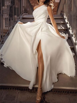 Ericdress Floor-Length Split Sleeveless Plain White Maxi Dress