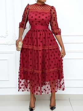 Ericdress Three-Quarter Sleeve Patchwork Ankle-Length Polka Dots Sweet Women's Dress