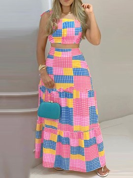 Ericdress Fashion Color Block Vest Single-Breasted A-Line Women's Two Piece Sets