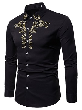 Ericdress Floral Embroidery Casual Single-Breasted Men's Shirt
