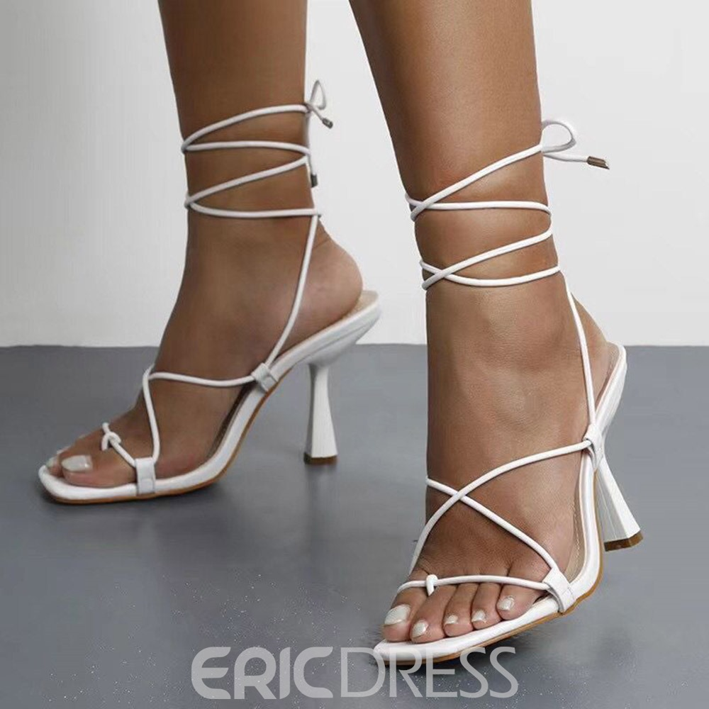 Ericdress Stiletto Heel Lace-Up Square Toe White Sandals