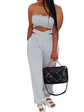 Ericdress Sexy Pants Plain Pullover Straight Women's Two Piece Sets
