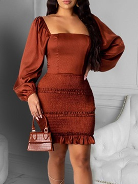 Ericdress Long Sleeve Backless Above Knee Pullover Dress