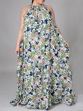 Ericdress Print Floor-Length Sleeveless Pullover Summer Dress