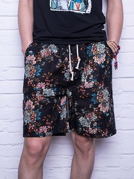 Ericdress Floral Straight Lace-Up Men's Casual Shorts