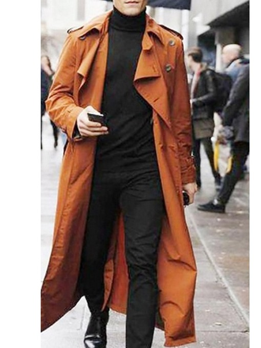 Ericdress Lapel Long Button Plain European Men's Trench Coat