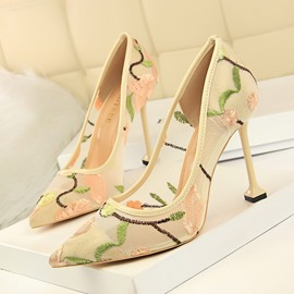Ericdress Slip-On Embroidery Pointed Toe Thin Women's Shoes