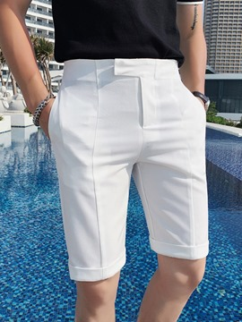 Ericdress Pocket Straight Plain Zipper Mid Waist Men's Casual Shorts