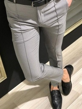 Ericdress Pencil Pants Houndstooth Spring Zipper Men's Casual Pants