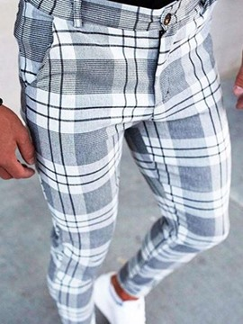 Ericdress Pencil Pants Plaid Summer Zipper Men's Casual Pants