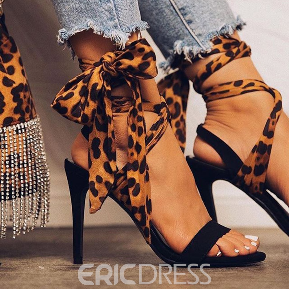 Ericdress Lace-Up Pointed Toe Stiletto Heel Print Women's Sandals